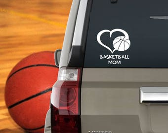 Basketball Mom Window Decal Heart /  Basketball Mom Computer Laptop Decal / Basketball Mom Decal  Basketball Mom Car Decal  Basketball Decal