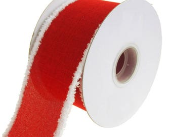 Snowy Edge Linen Wired Christmas Holiday Ribbon, Red, 2-1/2-Inch, 10 Yards
