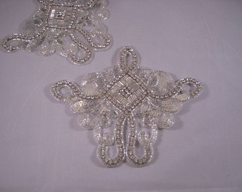 Large Rhinestone and Silver Sequin Applique--One Piece