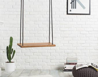 Tree swing for indoor or outdoor use, Nautic wood swing made of walnut, Wooden indoor swing for adults and children