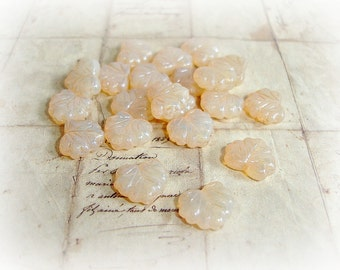 6 Peach Champagne Czech Glass Maple Leaf Beads 10 mm x 13 mm