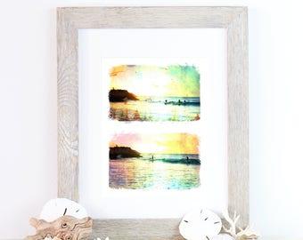 Retro surf art print - A4 - Western Australia - rainbow silhouette diptych for your beach house
