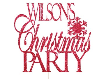 Christmas Cake Topper with Name, Christmas Party Decorations, Christmas Party Supplies, Name Christmas Cake topper