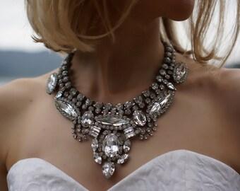 SALE Rita - Crystal Clear Swarovski Crystal Wedding Necklace, Statement Necklace - Ready to Ship