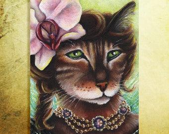 Orchid Bengal Cat Flower Fairy 5x7 Fine Art Print CLEARANCE