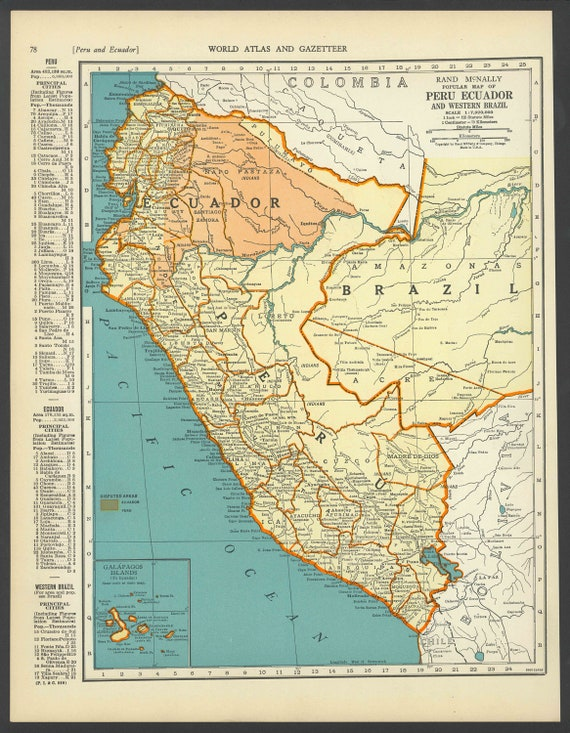 Vintage map of peru ecuador and brazil from 1937 original gumiabroncs Image collections