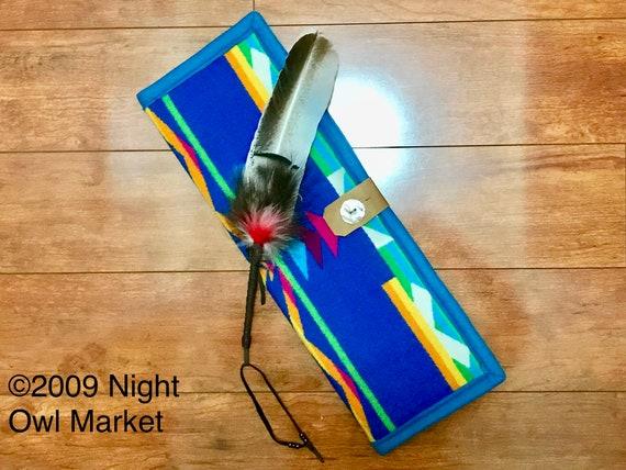 Feather Holder / Feather Case XL Wool Bright Blue San Gabriel