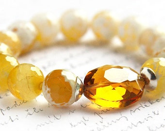 Jewelry Handmade Gemstone Bracelet Yellow Crab Agate Bracelet Golden Honey Crystal Sterling Silver Bright Yellow Stacking Bracelet. Custom