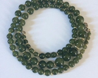 RARE opera length green agate necklace