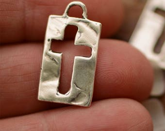 One Sterling Silver Cross, Rectangle Cut Out Cross
