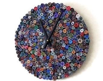 Wall Clock, Eco Home Decor Zero Waste Art