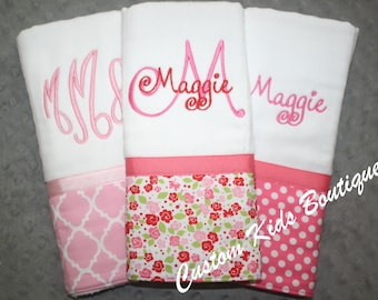 Sweet Pink Floral Roses Baby Girl Burp Cloth Gift Set- Set of 3 Custom Monogrammed Burp Cloths