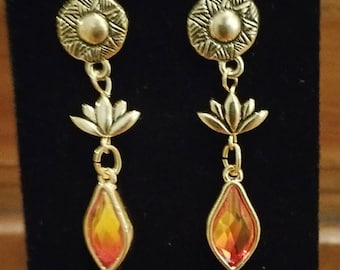 0314-Lotus Flower and Swarovski Fire Opal Crystal Earrings with Brass Disk