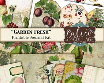 Printable, Journal Kit, Garden Fresh, Ephemera Pack, Junk Journal Kit, Garden Ephemera, Fruit Ephemera, Vintage Vegetables, Printable Tags