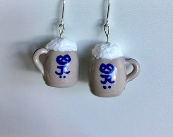 Mug earrings (925 Silver ear hooks)
