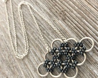 Silver & Gunmetal Beaded Chainmaille Necklace