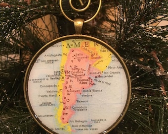 Argentina Map Christmas Ornament,  Keep a memory Alive / HONEYMOON Gift / Wedding Map Gift / Travel Tree Ornament / Corporate gift