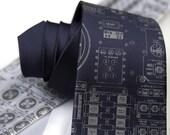 Apollo Cockpit men's necktie. NASA control panel print. Space gift, astronaut gift, rocket scientist gift, STEM gift, science gift.