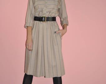 Vintage 80s Linen Tan Minimalist Safari Long Sleeve Striped Shirt Midi Dress M