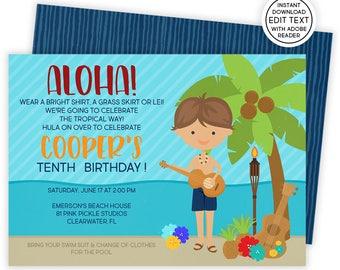 Luau Invitation, Hawaiian Invitations, Luau Birthday Invitation, Luau Party, Luau Party Invitations, Luau Invite, Luau Birthday | 81