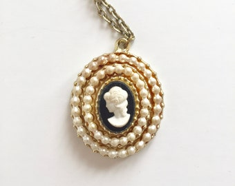 CAMEO Necklace . Faux Gold - Faux Pearl - Faux Victorian - Real Sweet