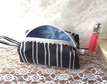 Silk makeup bag - black and gray stripes