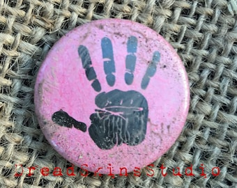 "Black Hand Postapocalyptic Wasteland Hand Distressed Pin Button Badge 1"" / 25mm"