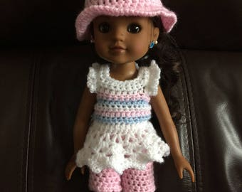 PDF Crochet pattern for 14inch doll, Wellie Wisher doll, Hearts for Hearts doll