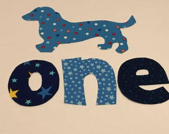 Birthday one iron on plus doxie dachshund iron on applique DIY