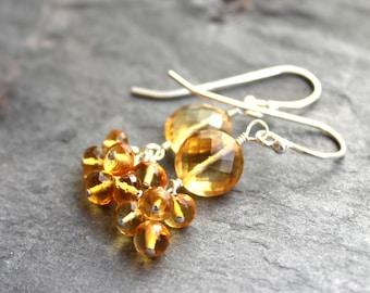 Citrine Earrings Cluster Sterling Silver Beaded Petite Dangles, November Birthstone