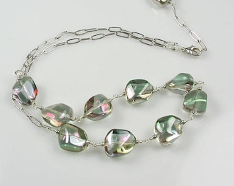 Iridescent Crystal Pebbles Sterling Silver Station Necklace
