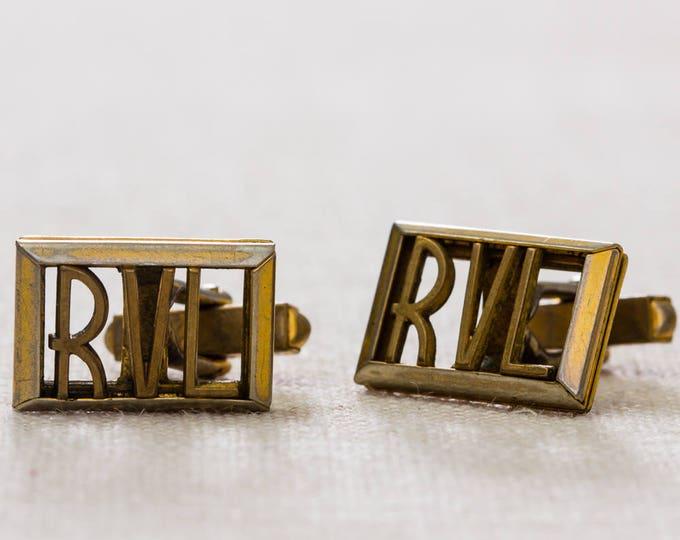Vintage Cufflinks Initials RVL Gold Letters Rectangle Men's Accessories Cuff Link Tuxedo Shirt Add On 7UU