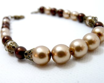 Delicate Chocolate and Cocoa Antiqued Brass Bracelet