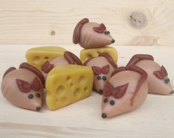 Marzipan Mice (6) And Cheese (3) - fondant mice - marzipan animals - mouse cake topper - edible mouse - mouse gift - mouse cake decorations