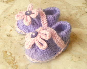 Knitting PATTERN BABY Booties Baby Flower Power Shoes Newborn - 2 Years INSTANT Download