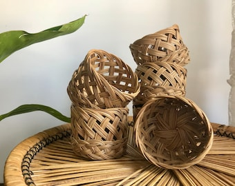 wicker woven cup bottoms / set of 6 coaster cozies