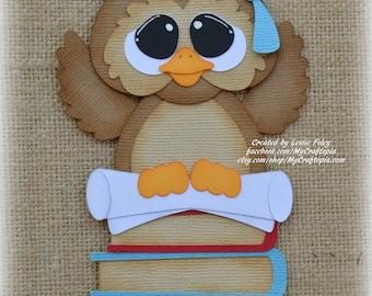 School Graduation Owl Premade Scrapbooking Embellishment Paper Piecing