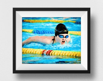 Swimming Art, Swimming Girl, Swimming Pool Print, Swimmer Gift, Kids Wall, Home Decor, Swim Painting, Swimming Pool Decor (N329)