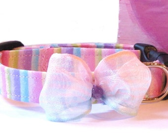 Glitter Overload Pastel Rainbow Striped Pet Collar