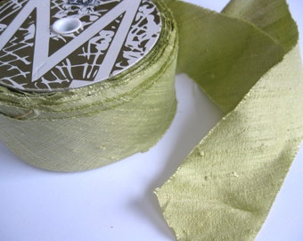 """Celery green Dupioni Ribbon 2"""" wide sold by the yard"""