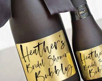 Bridal Shower Bubbly Champagne Labels // Gold Foil or Silver Foil // Favor Labels