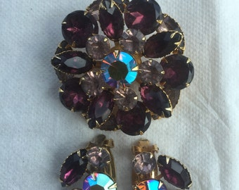 Gorgeous Designer BeauJewel Fancy Rhinestone Brooch and Earring Matching Set