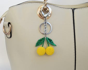 Bag charm chain Beaded purse charm Yellow key chains for women Lemon keychain Fruit Bag Charm Handbag charm Fruit keychain for bags