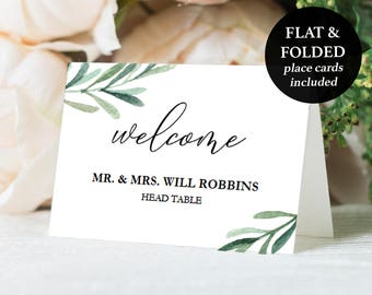"""Printable Place Cards - Wedding Place Card Download - Greenery Place Cards - Escort Card Template - Wedding Printable - 2.5"""" x 3.5""""- #GD3827"""