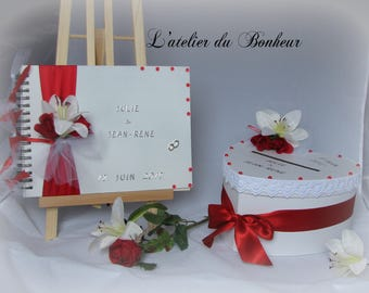 "Guestbook set red and white urn ""red rose and white lily"""