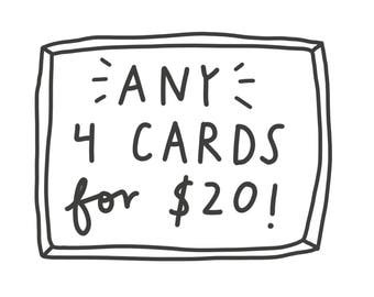 Any 4 Cards! Greeting Cards. Card Set/Boxed Cards.
