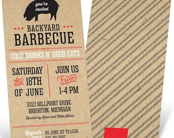 4 X 8 Backyard Barbecue Invitation | Party invite | Summer | BBQ | Craft