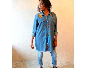 Oversized Ankara Denim blouse