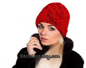 Red Knit Beanie Hat Crochet Rosa Women Accessories
