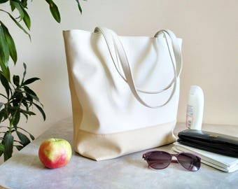 Vegan Leather tote, Shoulder bag purse, Tote bag, Organizer bag, White purse, Gift for her, Many pockets